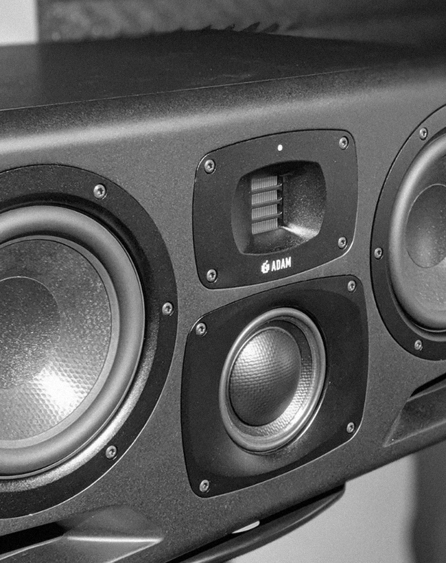 Adam S3H midfield monitors in a studio