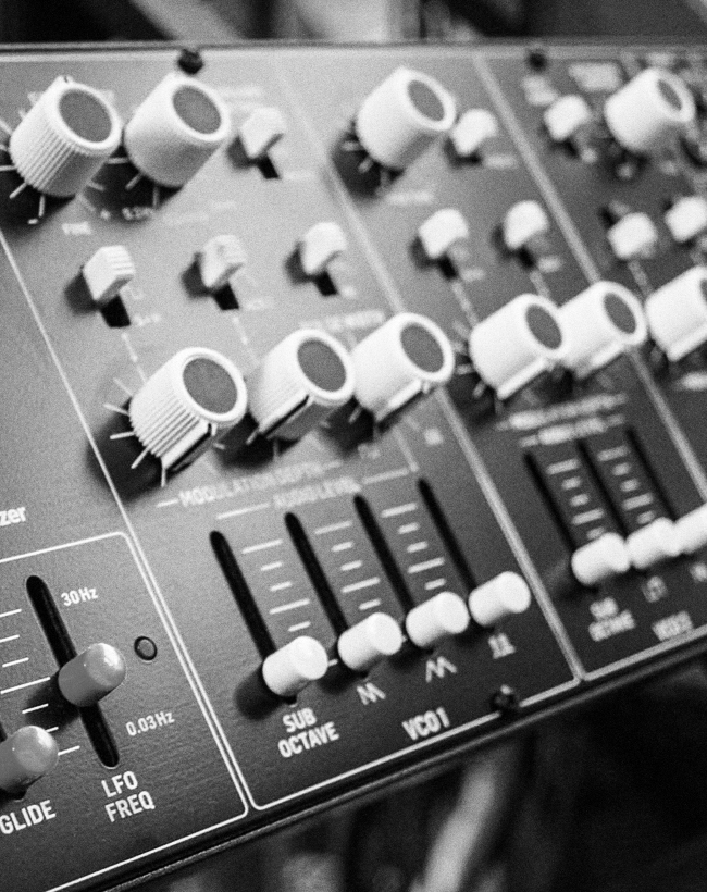 Close up on Behringer CAT synthesizer