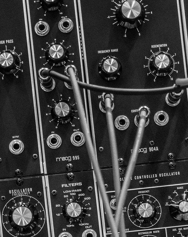 Close up of Moog modular synth.