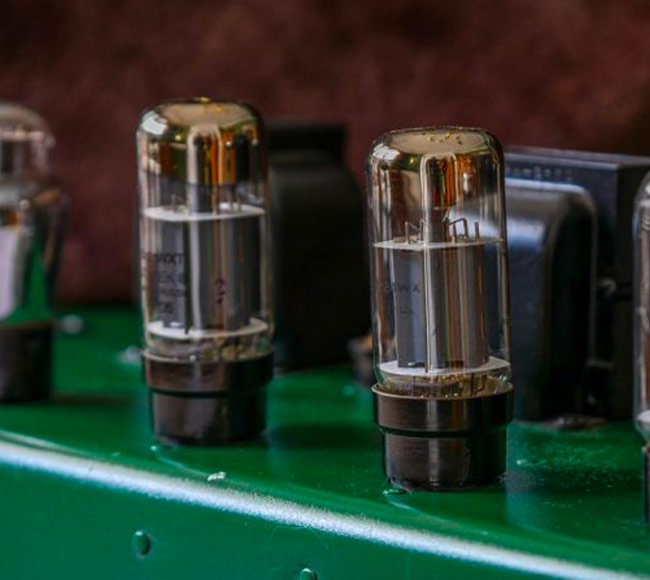 Close up of a tube amp