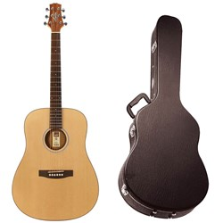 Ashton D20S Acoustic Guitar w/ Solid Top in APWCC Case (Natural Matte)