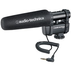 Audio Technica AT8024 Stereo/Mono Camera-Mount Mic w/ Foam & Fuzzy Windscreens