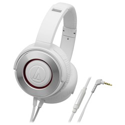 Audio Technica ATH WS550is Solid Bass Over Ear Headphones w/ Smartphone Control (White)