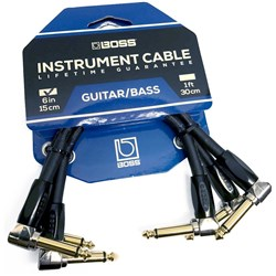 "Boss BICPC3 Right-Angle 1/4"" to Same Patch/Pedal Instrument Cable 3-Pack (6"")"