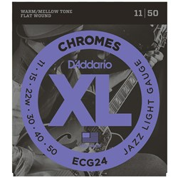 D'Addario ECG24 XL Chromes Flatwound Electric Strings - Jazz Light (11-50)
