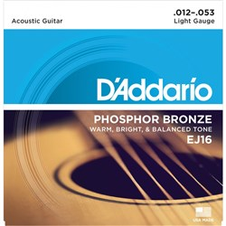 D'Addario EJ16 Phosphor Bronze Acoustic Guitar Strings - Light (12-53)
