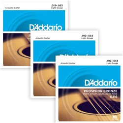 D'Addario EJ16-3D Phosphor Bronze Acoustic Guitar Strings 3-PACK - Light (12-53)
