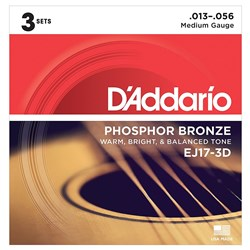 D'Addario EJ17-3D Phosphor Bronze Acoustic Guitar Strings 3-PACK - Medium (13-56)