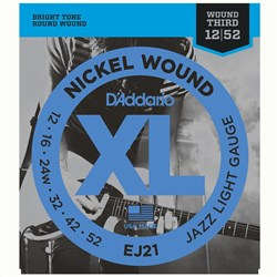 D'Addario EJ21 Nickel Wound Electric Strings w/ Wound 3rd - Jazz Light Set (12-52)