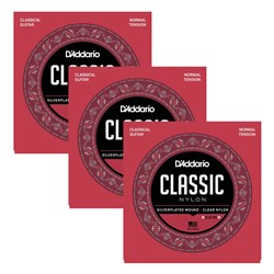 D'Addario EJ27N-3D Student Nylon Classical Guitar Strings 3-PACK (Normal Tension)