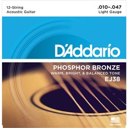 D'Addario EJ38 12-String Phosphor Bronze Acoustic Strings - Light (10-47)