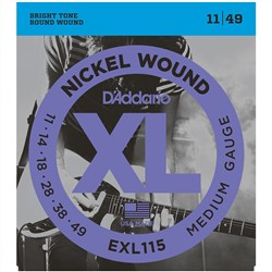 D'Addario EXL115 Nickel Wound Electric Guitar Strings - Medium/Blues-Jazz Rock (11-49)