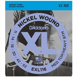 D'Addario EXL116 Nickel Wound Electric Guitar Strings - Med Top / Heavy Bottom(11-52)
