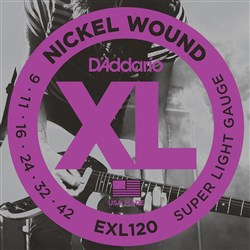 D'Addario EXL120 Nickel Wound Electric Guitar Strings - Super Light (9-42)