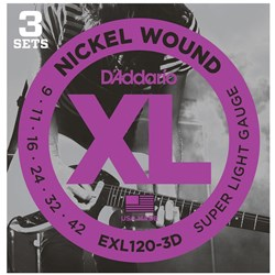 D'Addario EXL120-3D Nickel Wound Electric Guitar Strings 3-PACK - Super Light (9-42)