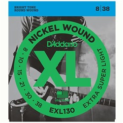 D'Addario EXL130 Nickel Wound Electric Guitar Strings - Extra Super Light (8-38)