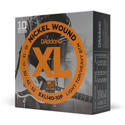 D'Addario EXL140-10P Nickel Wound Electric Strings 10-PACK Light Top/Heavy Bottom (10-52)