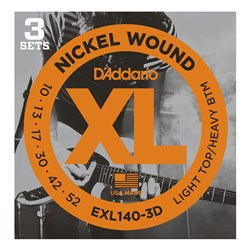 D'Addario EXL140-3D Nickel Wound Electric Strings 3-PACK Light Top/Heavy Bottom (10-52)