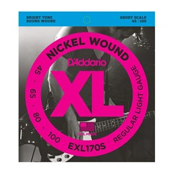 D'Addario EXL170S Nickel Wound Bass Strings - Light / Short Scale (45-100)
