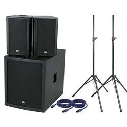 "DAP Audio Club Mate 2 Pack w/ 15"" Sub, Speakers, Stands, Cables & Covers"