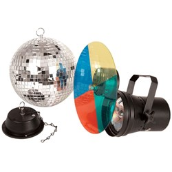 Mirror Ball 20cm Kit. Inc MB, Motor and Pinspot