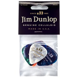 Dunlop Variety Guitar Pick 12-Pack Celluloid Various Colours (Medium)