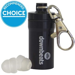 Downbeats Reusable High Fidelity Hearing Protection Earplugs (Black Canister)
