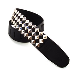 "DSL Metal Pyramid Stud Guitar Strap (Nickel Diagonal, 2.5"")"