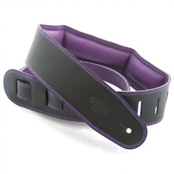 "DSL GEG Series Padded Guitar Strap (Black, Purple Backing, 2.5"")"