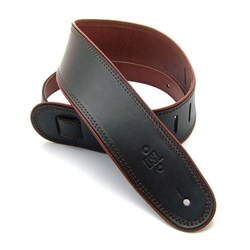 "DSL GEP Series Rolled Edge Guitar Strap (Black, Brown Backing, 2.5"")"