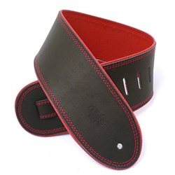 "DSL GEP Series Rolled Edge Guitar Strap (Black, Red Backing, 3.5"")"