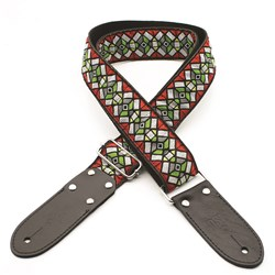 "DSL JAC20 Jacquard Guitar Strap (Haze Design, Red, 2"")"