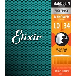 Elixir 11500 Mandolin Strings 80/20 Bronze w/ Nanoweb Coating - Light (10-34)