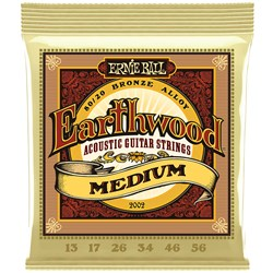 Ernie Ball 2002 Earthwood Medium 80/20 Bronze Acoustic Guitar Strings - 13-56 Gauge