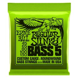 Ernie Ball 2836 45-130 Lime Regular Slinky 5 String Nickel Electric Bass Strings