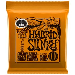 Ernie Ball 3223 9-46 (3 Pack) Hybrid Slinky Nickel Wound Electric Guitar Strings