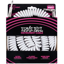 Ernie Ball 30' Coiled Straight / Angle Instrument Cable - (White)