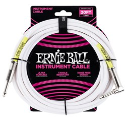 Ernie Ball 20' Classic Straight / Angled Instrument Cable - (White)