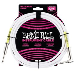 Ernie Ball 10' Classic Straight / Angled Instrument Cable - (White)