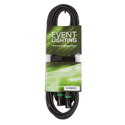 Event Lighting XLR3M3F5 3-Pin DMX Lead - Green Indicator Ring (5m)