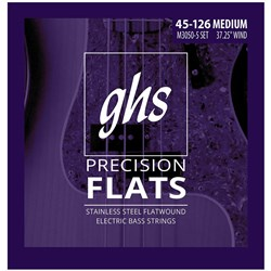 GHS Bass Precision Flats Medium Flatwound 5-String Electric Bass Strings (45-126)