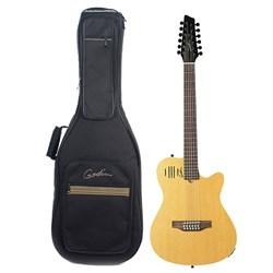 Godin A12 12-String Acoustic/ Electric Guitar (Natural Semi-Gloss) & Bag