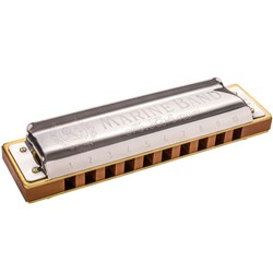 Hohner Marine Band - 10 Hole Diatonic Harmonica with Wooden Reed in Key A
