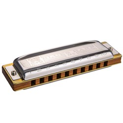 Hohner Blues Harp - 10 Hole Diatonic Harmonica w/ Wooden Reed in Key Bb (B Flat)