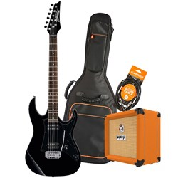 Ibanez RX20EX Electric Guitar Starter Pack w/ Orange Crush 12 & Accessories (Black)