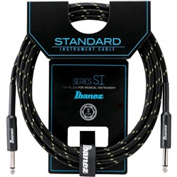 Ibanez SI10 BG Woven Guitar Cable w/ 2 Straight Plugs - 10ft (Black/Green)