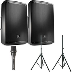 "JBL EON612 12"" Two-Way Powered Reinforcement Speaker Pack w/ FREE Speaker Stands"