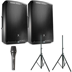 "JBL EON615 15"" Two-Way Powered Reinforcement Speaker Pack w/ FREE Speaker Stands"