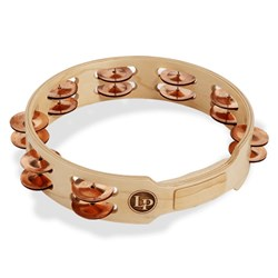 "LP Accent 10"" Double Row Wood Tambourine w/ Copper Jingles"