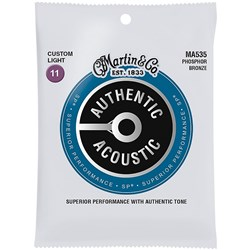 Martin MA535 Authentic SP 92/8 Custom Light Phosphor Bronze Acoustic Guitar Strings 11-52